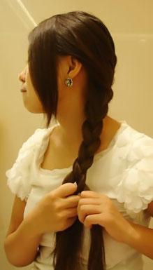 斜蜈蚣辫盘发盘发的方法