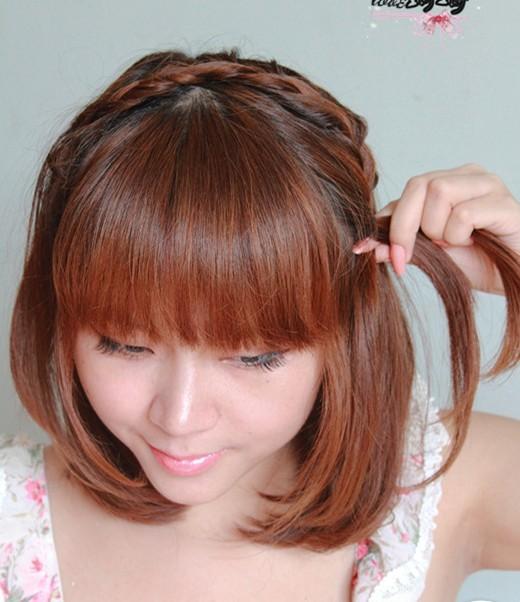 中短发发型盘法图解(四)